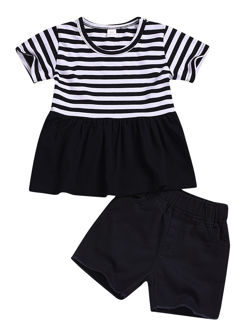 6fa1e6da21f95 2-Piece Summer Toddler Baby Girl Clothes Outfits Stripe Tunic +Black Shorts