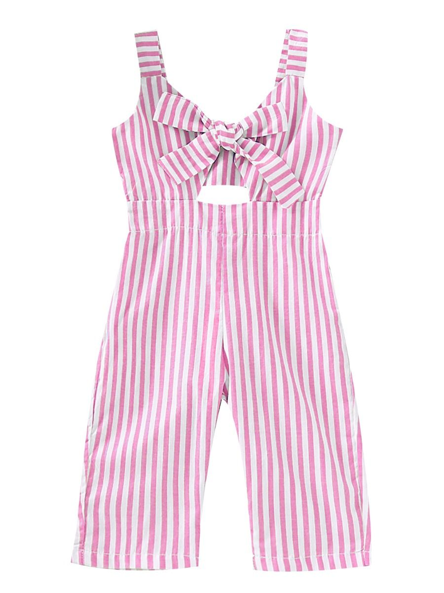 Wholesale Stylish Pink And White Striped Bow Baby Littl