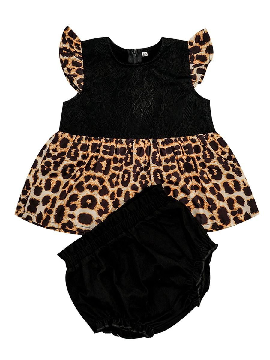 823c76c2d 2-Piece Fashion Baby Girl Clothes Outfits Flutter Sleeve Leopard Print  Patchwork Dress+Frilled ...