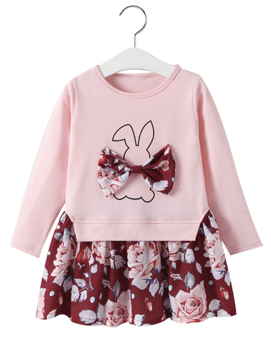 TrulyBee Little Girls Easter Outfit Sets Cartoon Bunny Print Floral Clothing Sets Tees