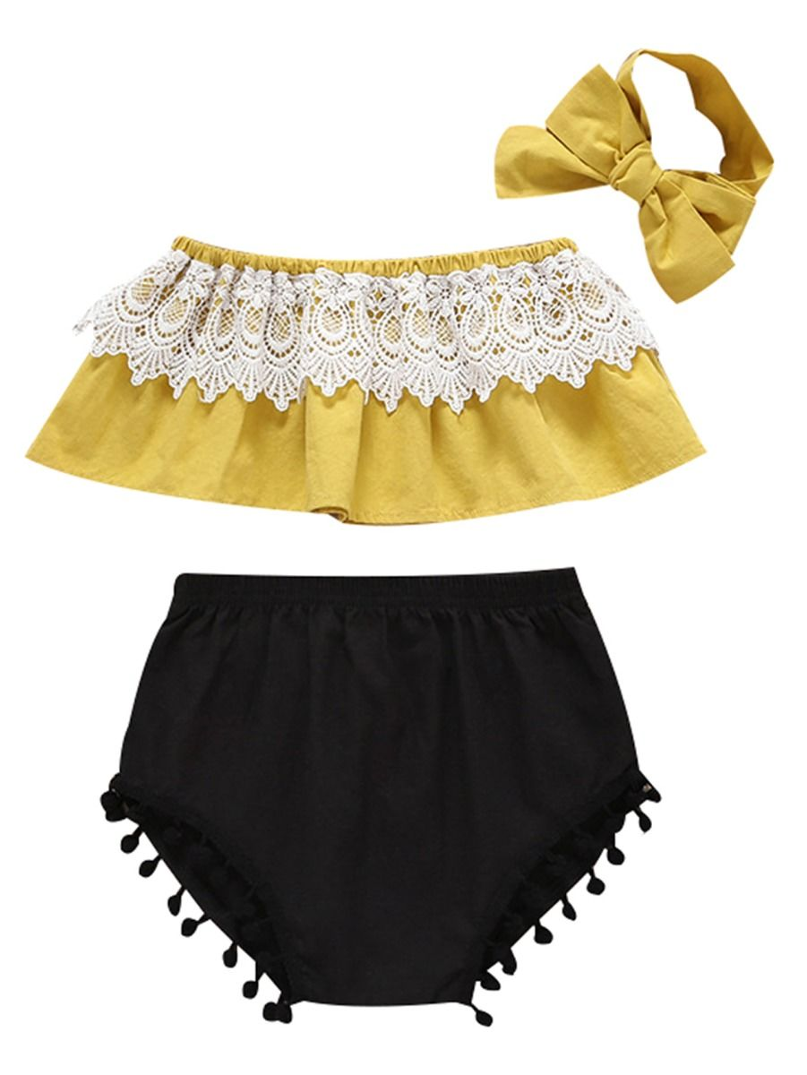 52aa0e17029bf 3-Piece Baby Clothes Outfits Lace Trimmed Crop Top+Pom Pom Trimmed Black  Shorts ...