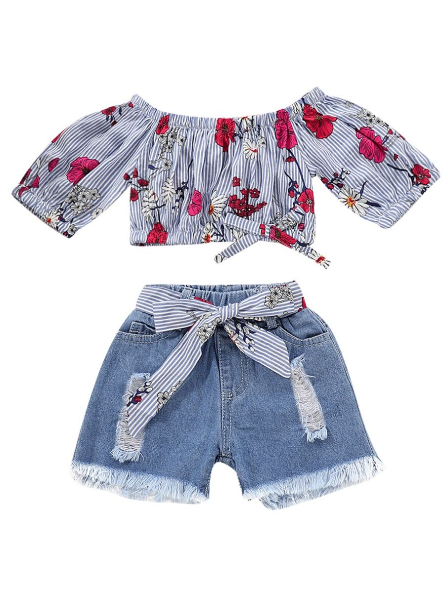 c142551af 2-Piece Summer Baby Little Girl Clothes Outfits Off Shoulder Flower Crop Top+Bow  ...