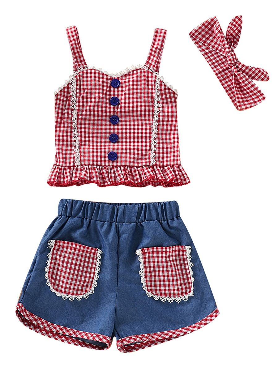 f7462d6d9 3-Piece Baby Little Girl Clothes Outfit Checked Suspender Top+Shorts + Headband ...