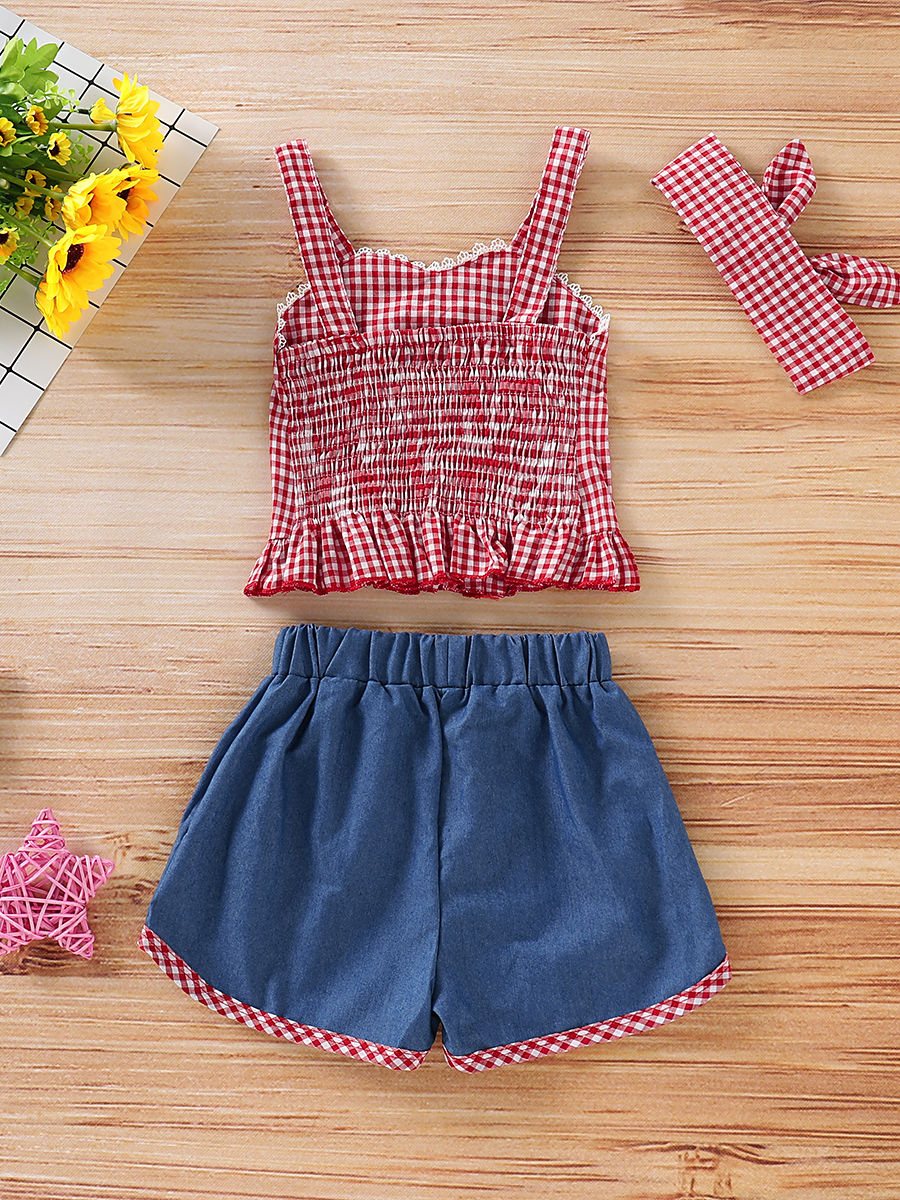 f00b2f422 ... 3-Piece Baby Little Girl Clothes Outfit Checked Suspender Top+Shorts + Headband ...