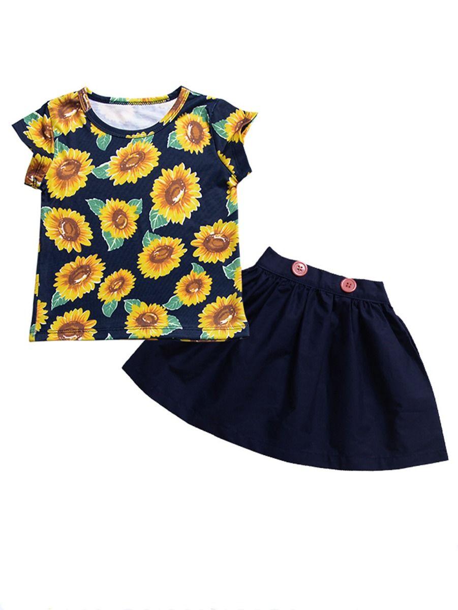 b00217de3 2-Piece Baby Little Girl Clothes Outfits Sunflower T-shirt Matching Skirt  ...