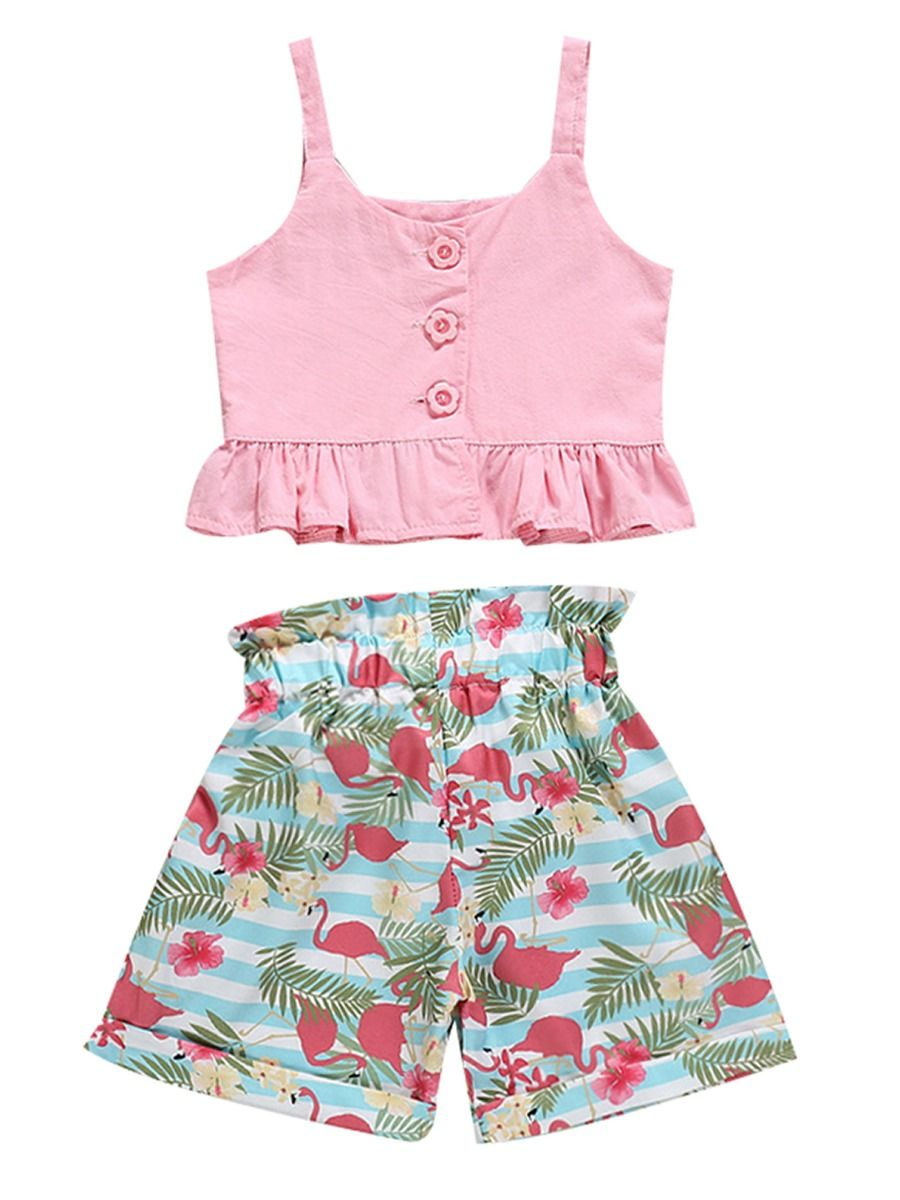 c444124315e478 2-Piece Summer Baby Little Girl Clothes Outfits Pink Suspender Top+Flamingo  Bow Shorts ...