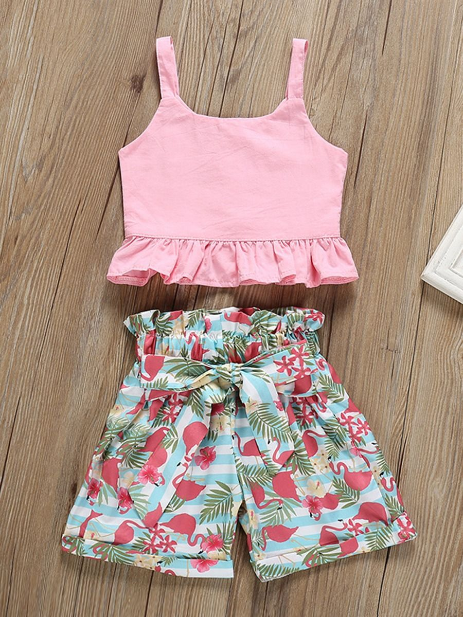 21f5f669886907 ... 2-Piece Summer Baby Little Girl Clothes Outfits Pink Suspender Top+Flamingo  Bow Shorts ...