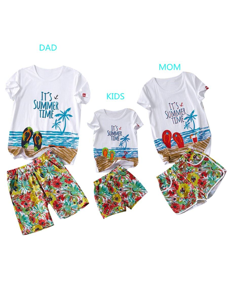 d2a79a67c Family Matching Hawaii Style Beach Clothes Outfits for Kids T-shirt+Shorts  ...