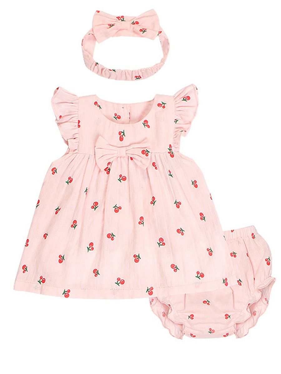 4f9ca8cd0e1da 3-Piece Cute Fruit Pattern Baby Girl Clothes Outfit Flutter Sleeve Dress+ Shorts+ ...