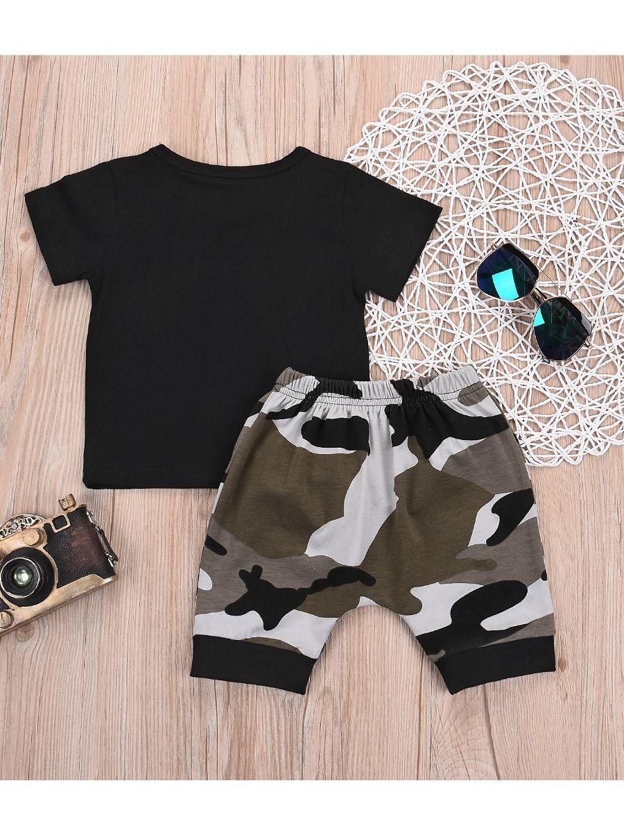 55a1222771bd5 ... 2-Piece Summer Infant Little Boy Clothes Outfit LIL' KING Black T-shirt  ...