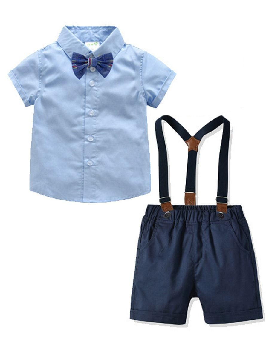775032316 4-Piece Summer Infant Boys Clothes Outfits Set Short-sleeved Turn Down  Collar Blue ...