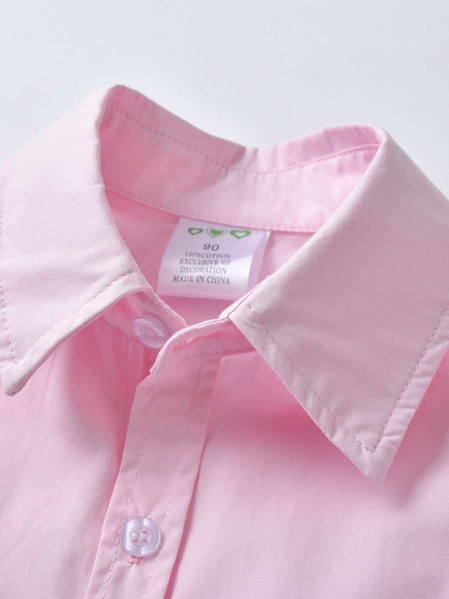 9402d042 ... 4-Piece Summer Infant Boys Clothes Outfits Set Short-sleeved Turn Down  Collar Pink ...