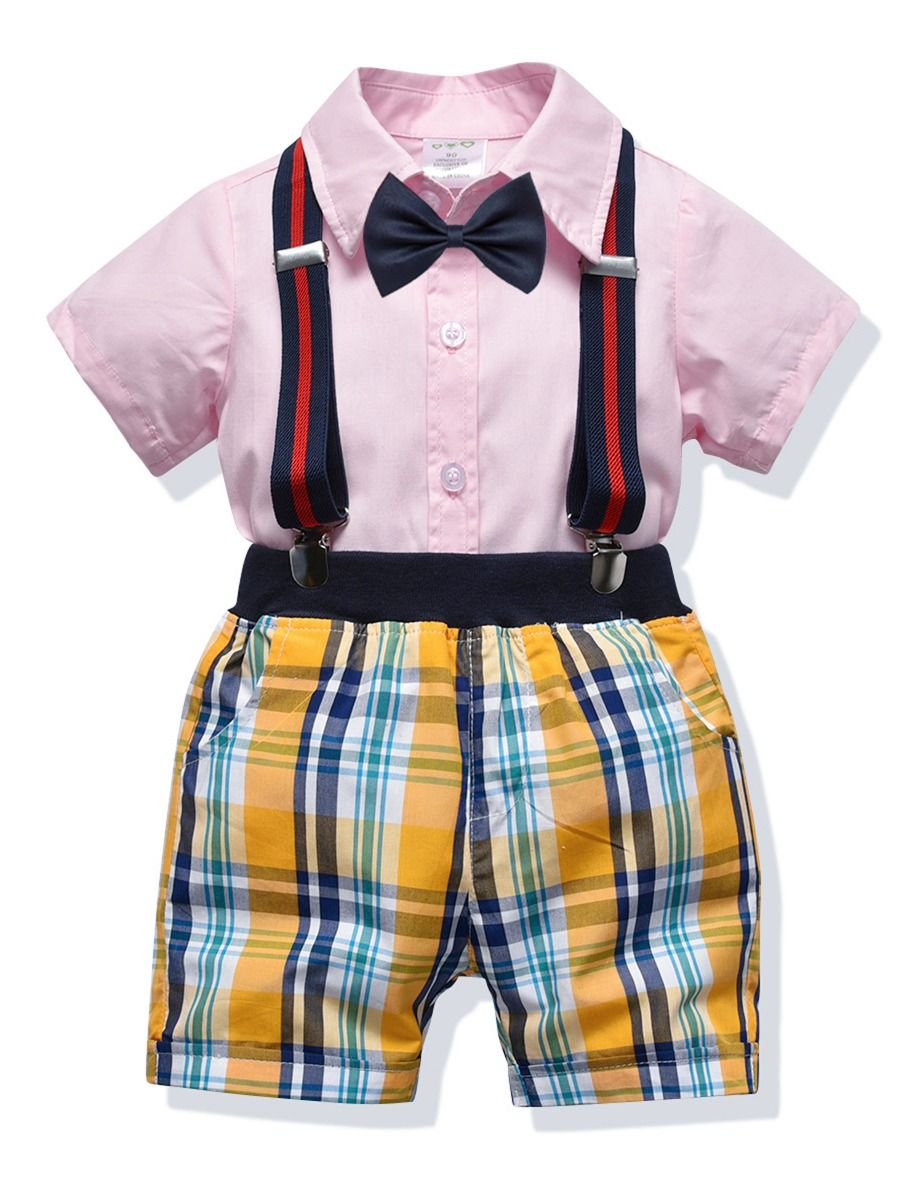 6a7826fd 4-Piece Summer Infant Boys Clothes Outfits Set Short-sleeved Turn Down  Collar Pink ...