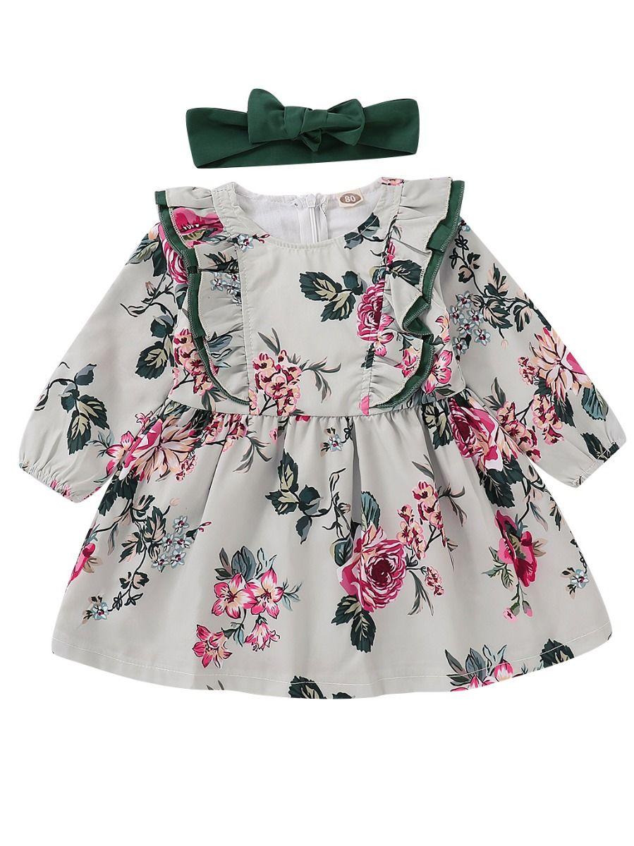 3c3745760a71 Spring Flower Ruffle Baby Toddler Girl Dress Matching Green Headband ...
