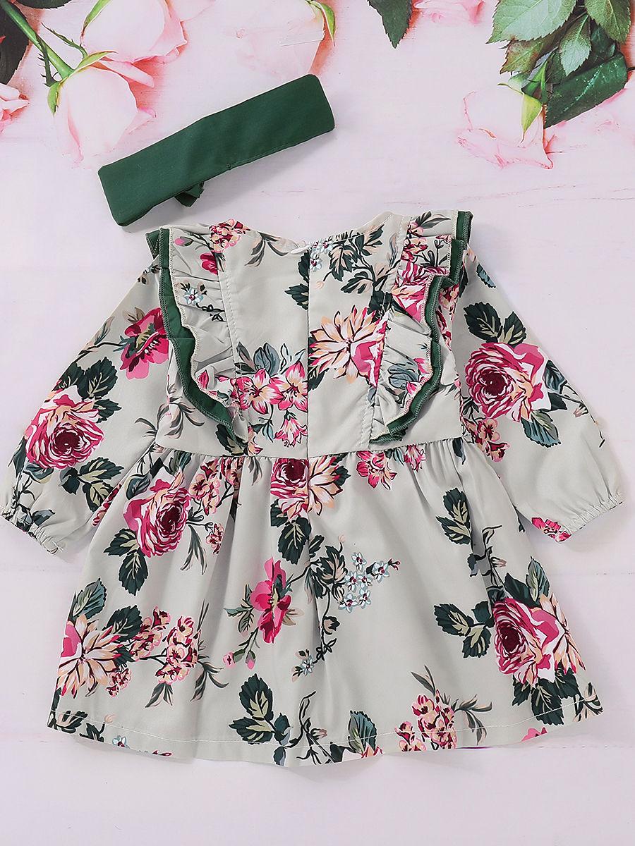 80ebc6304952 ... Spring Flower Ruffle Baby Toddler Girl Dress Matching Green Headband ...