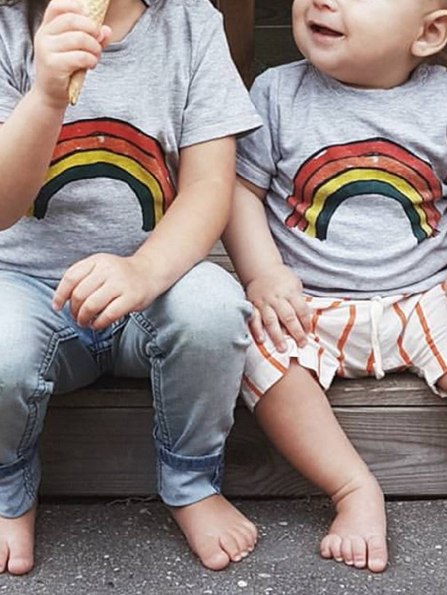 73e5e4e29 ... Infant Little Boys Girls Rainbow Style T-shirt ...