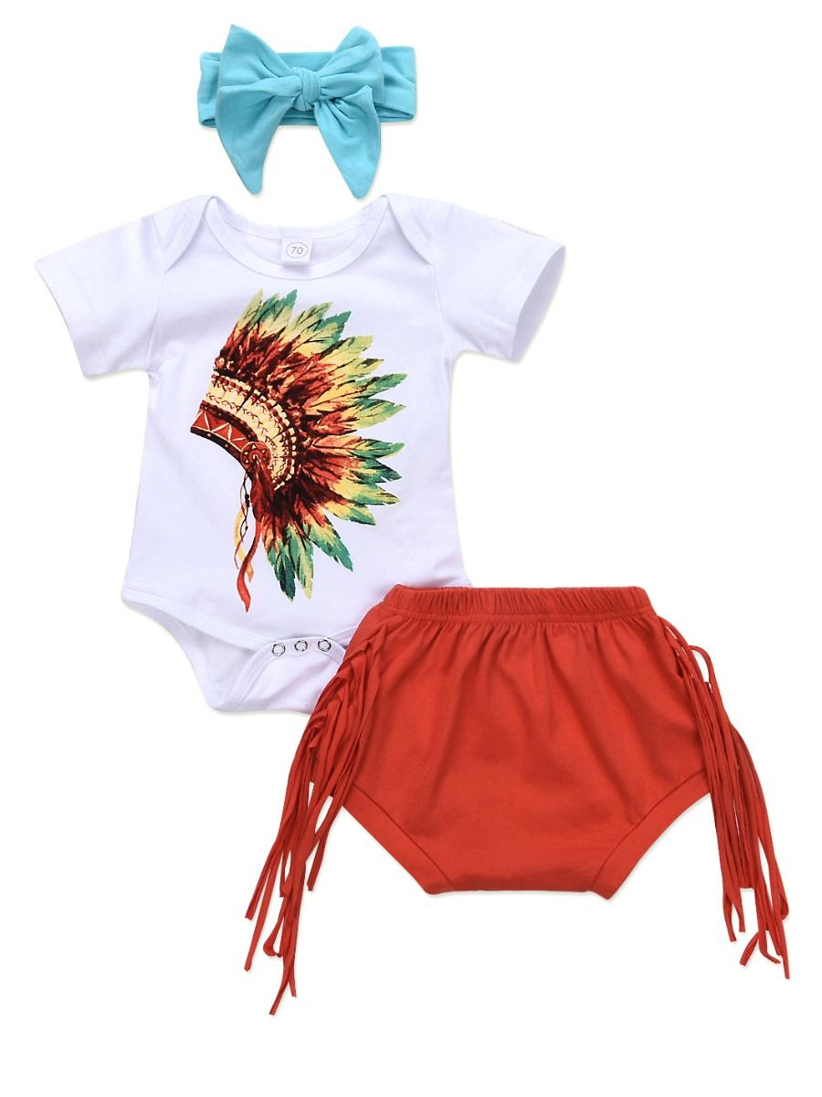 af466795c 4-PACK Summer Fashion Baby Clothes Outfit Printed Bodysuit+Tassel Trimmed  Shorts+Blue Headband Wholesale