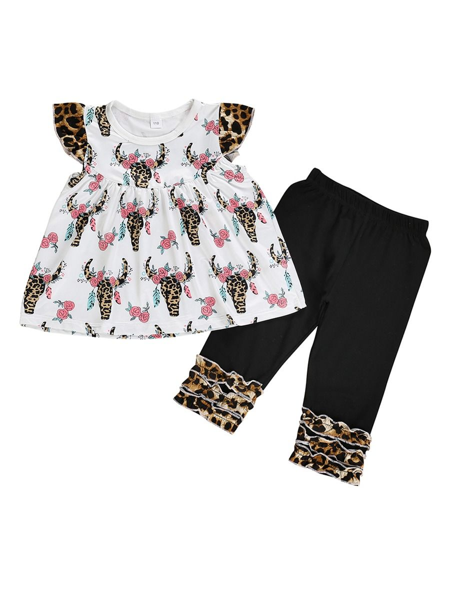 334ed7c19f0 Tap to expand · 2-Piece Fashion Cow Flower Pattern Toddler Little Girl  Clothing Outfit Tunic Matching Ruffle Icing ...