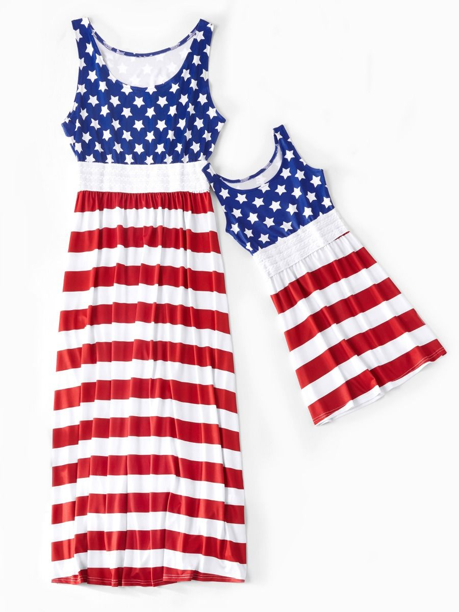 1f1148685643 Mommy and Daughter Independence Day Theme Star Stripe Patchwork Sleeveless  Casual Vacation Long Dress ...