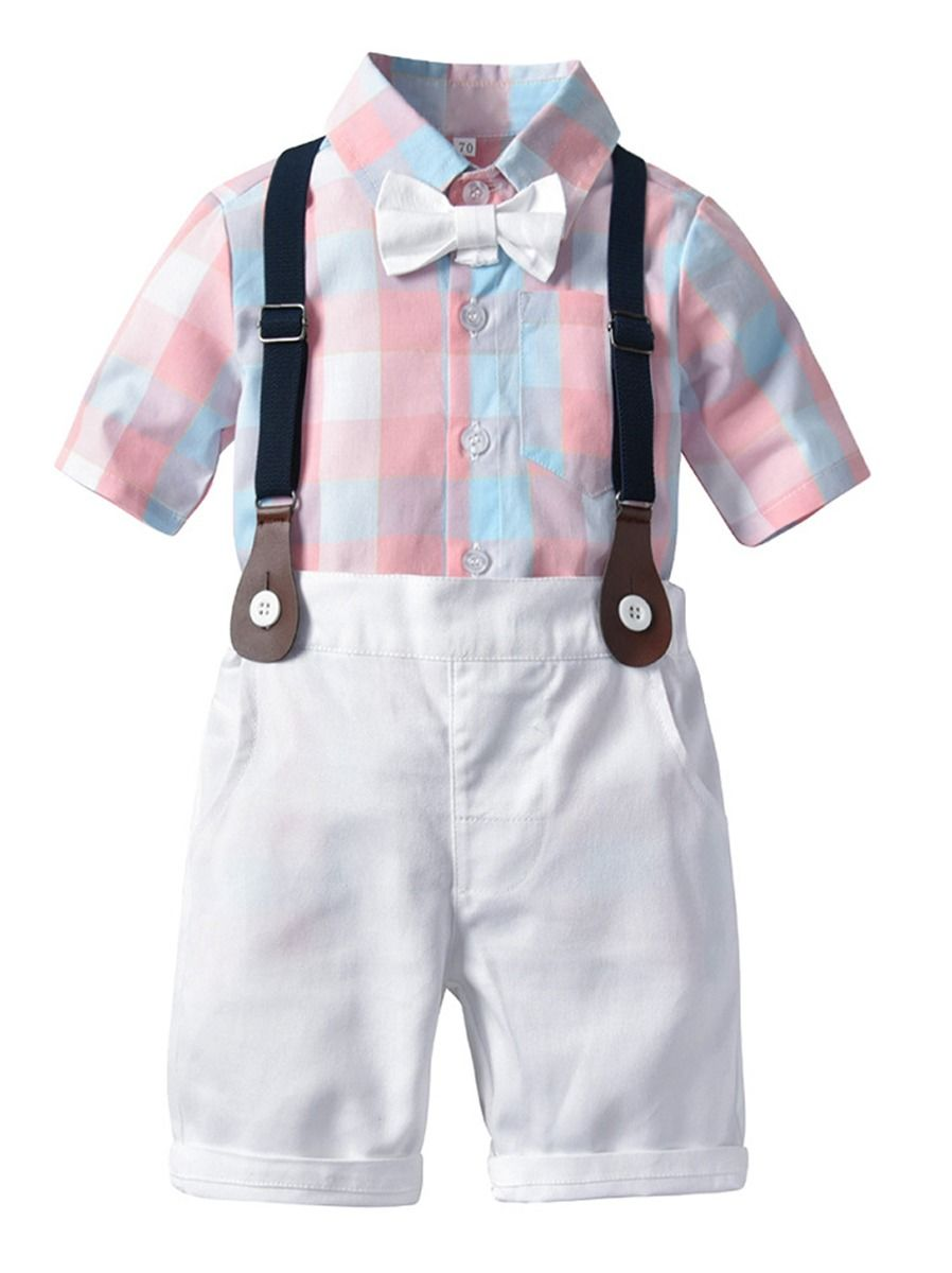 f116e529e 2-Piece British Style Baby Summer Clothes Outfit Checked Shirt Matching Bow  Tie +White ...