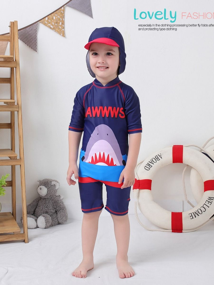 509d4695da ... 2-Piece Shark Pattern Toddler Little Kids Bathing Suit Matching Swimming  Cap ...