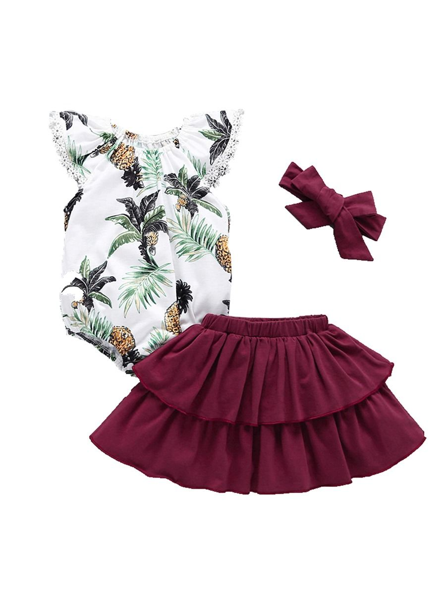 68fd9e17c 3-Piece Baby Girl Clothes Outfit Pineapple Fruit Print Lace Trimmed Flutter  Sleeve Bodysuit+ ...