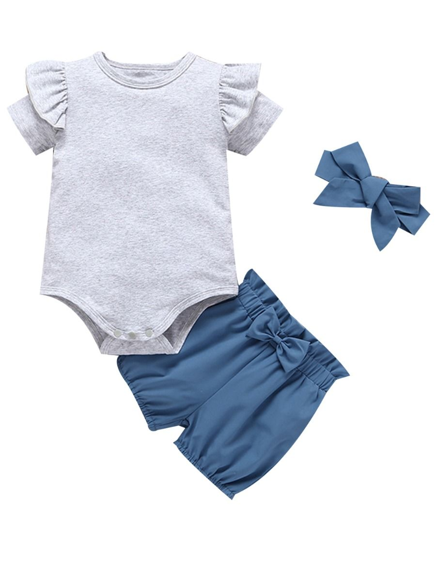 15f042ce7 3-Piece Summer Baby Clothes Outfit Flutter Sleeve Bodysuit+Blue Bow Shorts+ Headband ...
