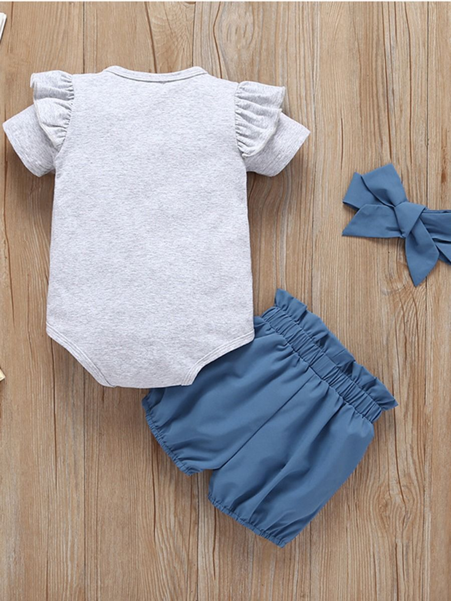 4788575af ... 3-Piece Summer Baby Clothes Outfit Flutter Sleeve Bodysuit+Blue Bow  Shorts+Headband ...