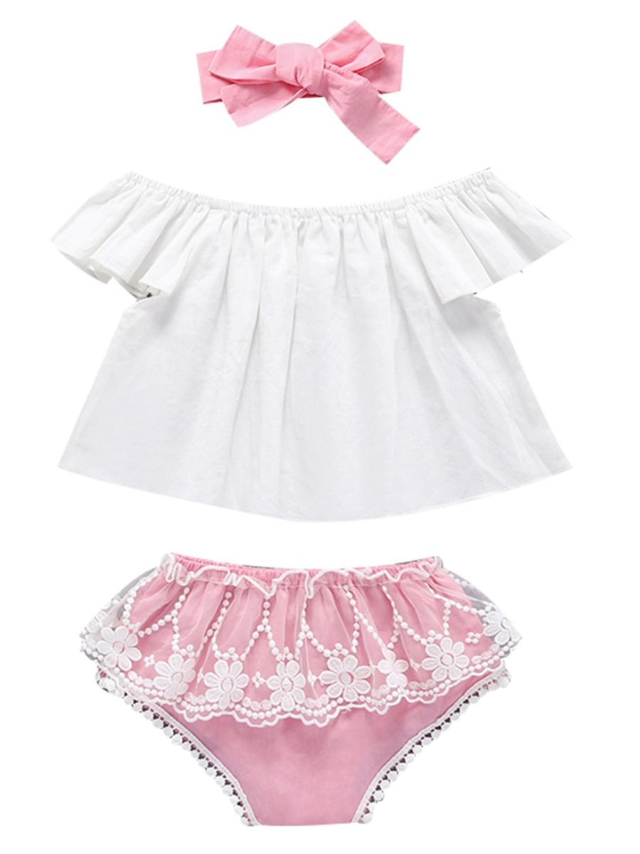 e06f79086ffba 3-Piece Summer Baby Girl Clothing Outfit White Off Shoulder Top +Flower Lace  Trimmed ...