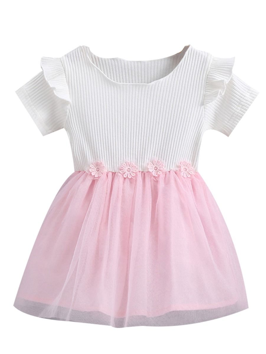 3bb23f4ec0cb Flutter Sleeve Flower Trimmed Mesh Patchwork Baby Dress ...