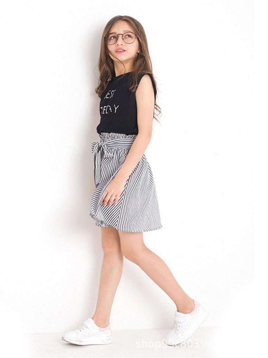 d518121507231 ... 2-Piece Summer Little Big Girl Clothes Outfit BEST THE DAY Black  T-shirt ...
