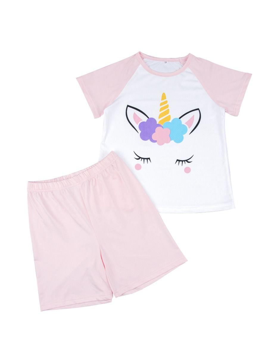 5a2cea6f 2-Piece Little Big Girl Unicorn Leisure Wear Set T-shirt Matching Shorts ...