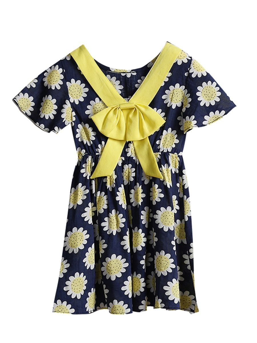 18db1b65ac0b6 Wholesale Summer Baby Little Girl Sunflower Bow Dress