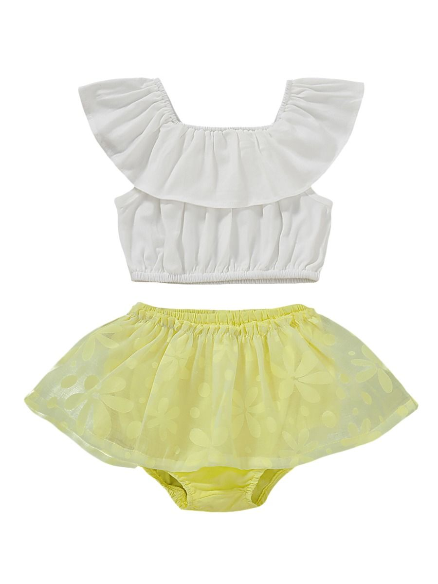 Baby Pure White Pettiskirt White Lace Tube Top Set 1-8Y