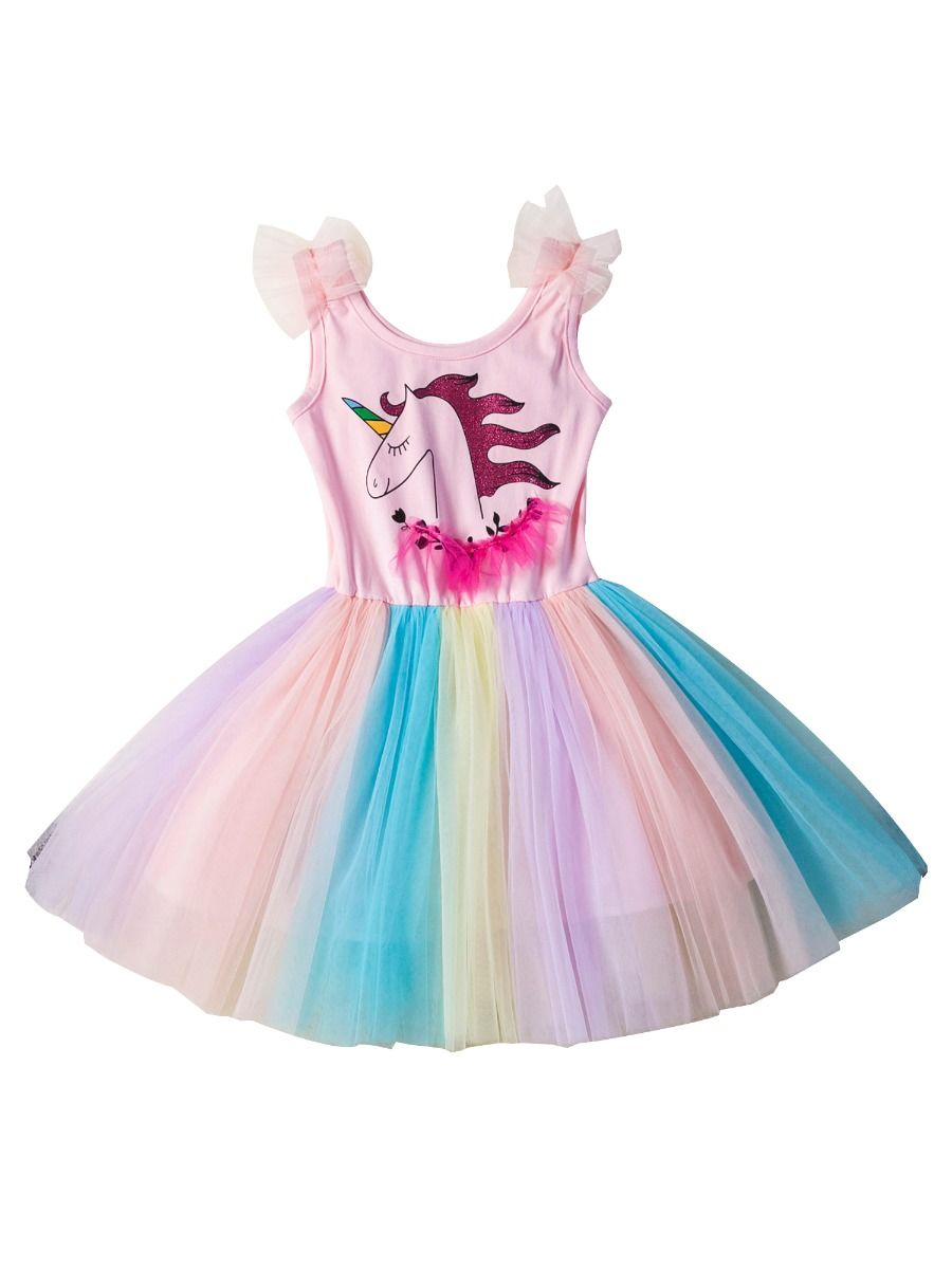bbf0a3b558118 Unicorn Sleeveless Rainbow Color Mesh Patchwork Toddler Little Girl Party  Dress ...
