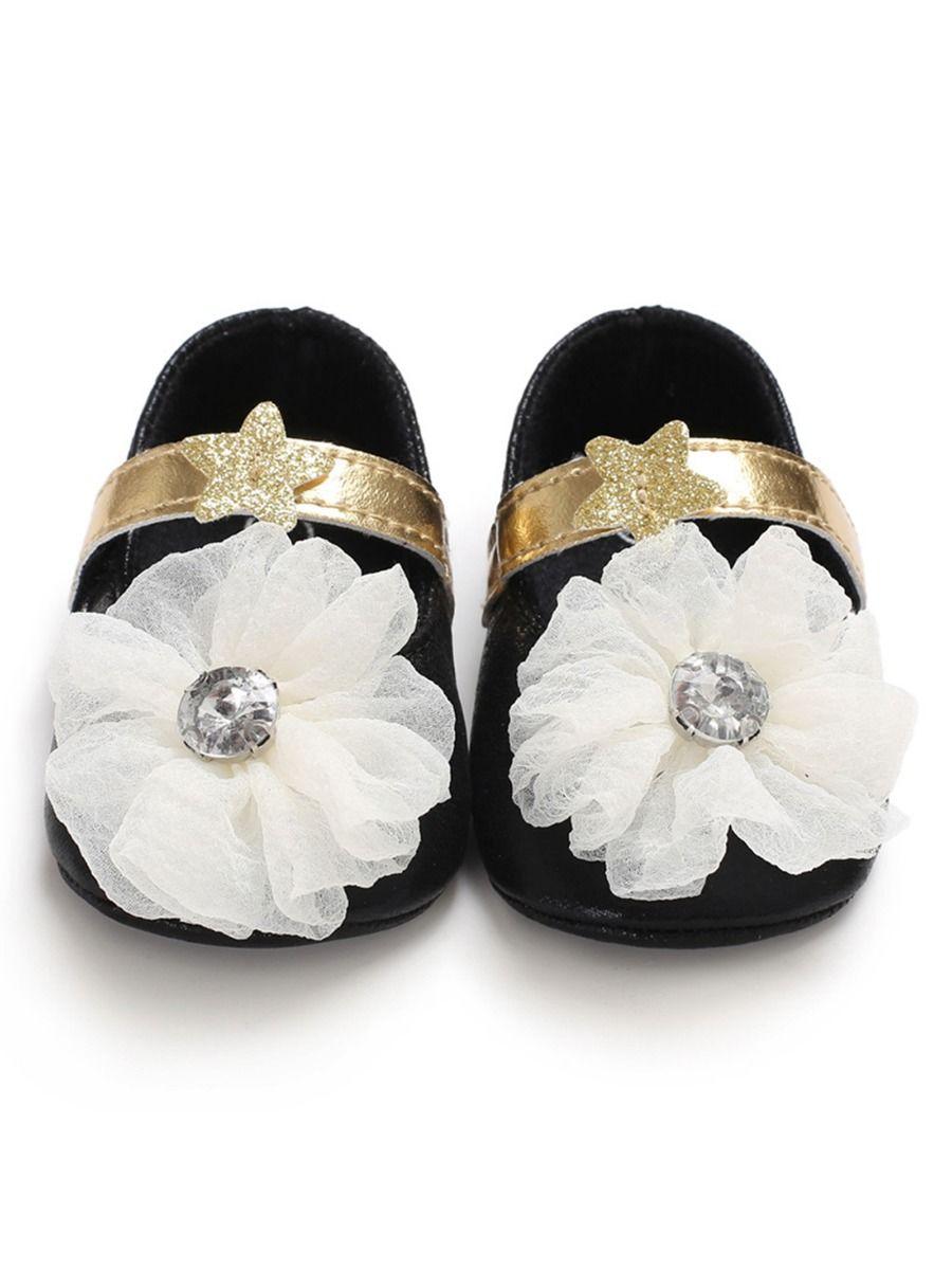 Little Girls Rose Petal With Black Trimming Ballet Flats