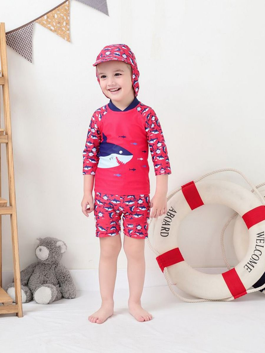 kiskissing wholesale 3-piece shark patter swimwear set top shorts swimming cap