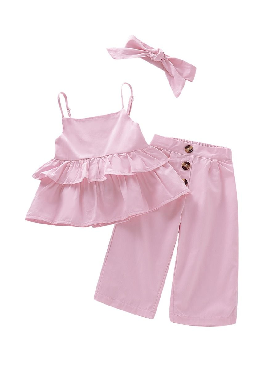 b4c6123fb 3-Piece Summer Stylish Baby Toddler Girl Pink Outfit Ruffle Suspender  Top+Buttoned Pants ...