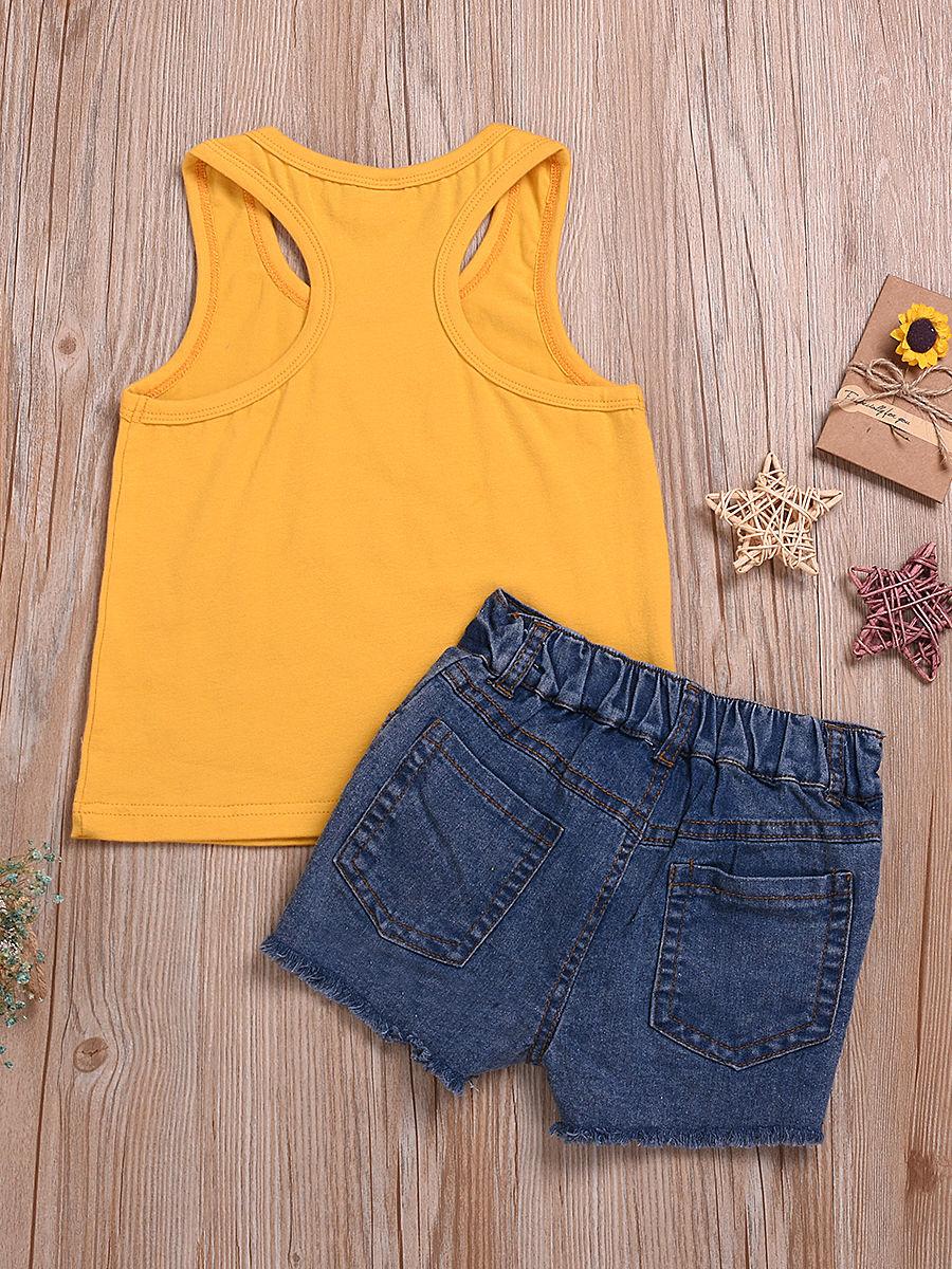67b1e3ed6e0a ... 2-Piece Sunflower Style Outfit Tank Top Matching Fringe-hem Denim Shorts  ...