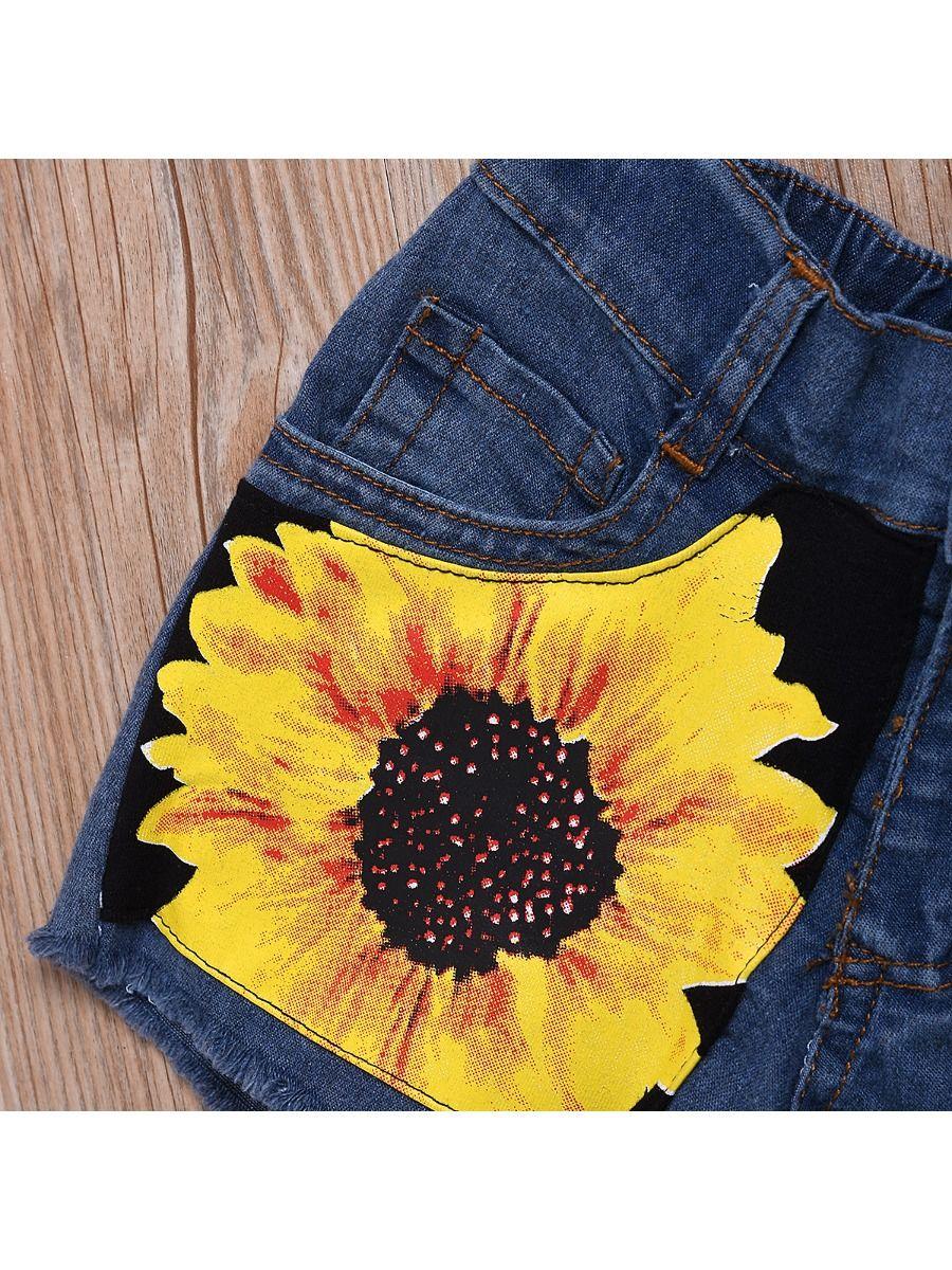 03dc6ec1f68e ... 2-Piece Sunflower Style Outfit Tank Top Matching Fringe-hem Denim Shorts