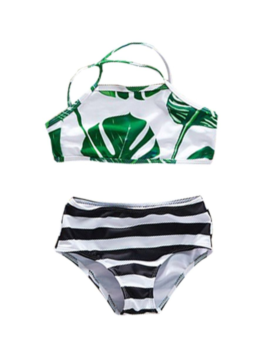 5d8c45d545 Mom and Daughter Family Outfit Big Leaf Stripe Print Bikini Swimwear ...