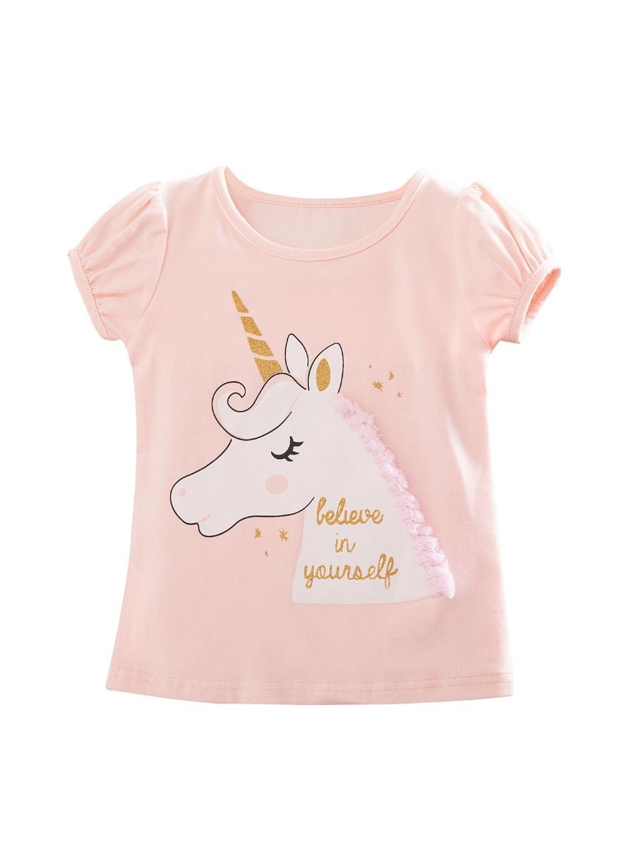 27eea7de ... Rainbow Unicorn Style Toddler Little Girl T-shirt ...