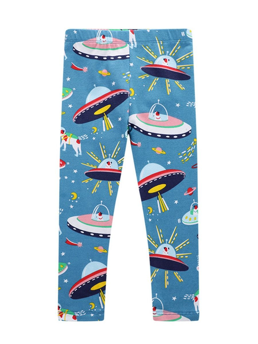 37575cc1f8877 Spring Cartoon Spaceship Print Toddler Little Girl Leggings Pants ...