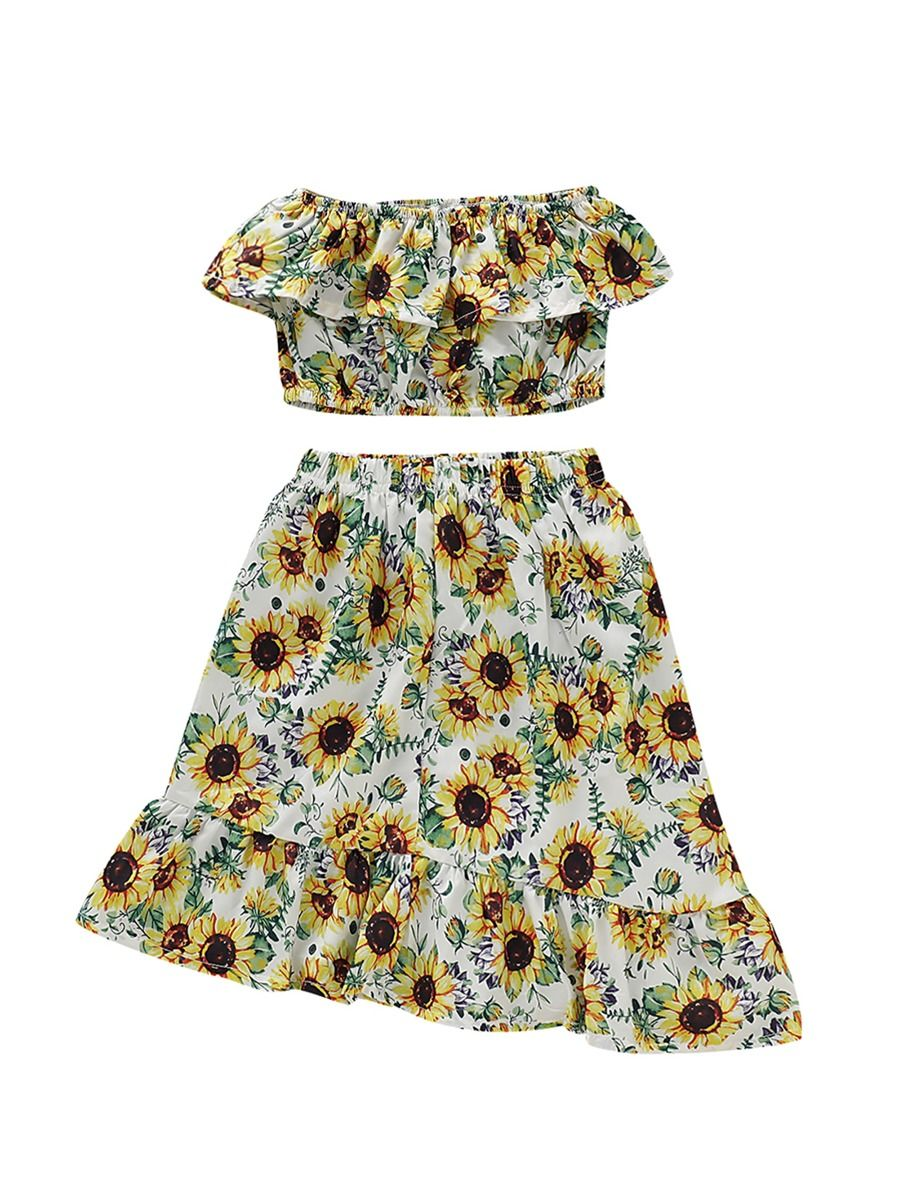 5d4230f9b351b 2-Piece Baby Toddler Girl Sunflower Outfit Off Shoulder Crop Top Matching  Asymmetrical Hemline Skirt ...