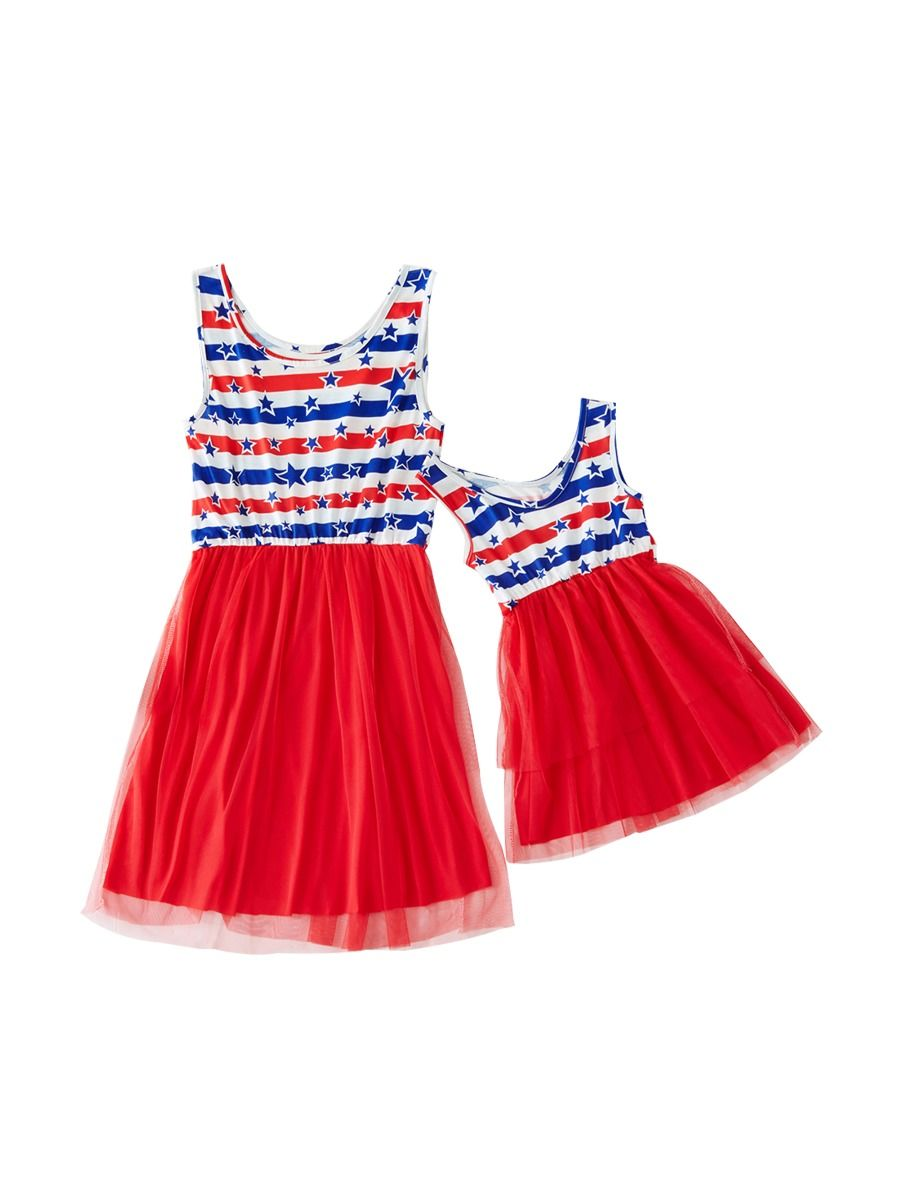 e741b3cf1e6e Mommy and Me 4TH of July Mesh Patchwork Sleeveless Dress ...