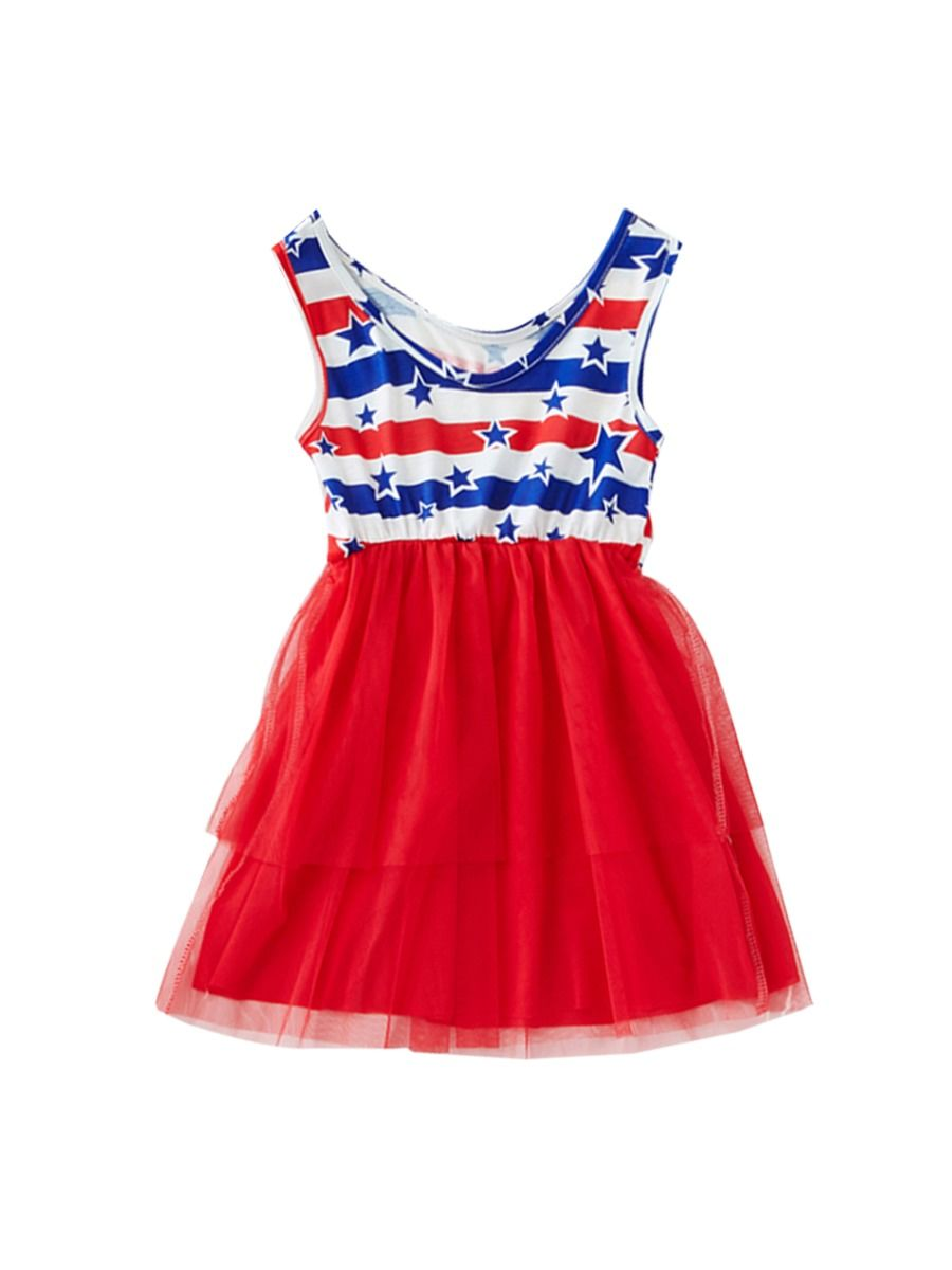 0fc08dff9c4b ... Mommy and Me 4TH of July Mesh Patchwork Sleeveless Dress ...