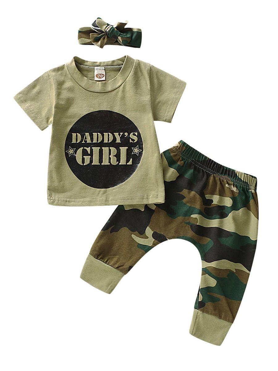 d20803b45e8cf 3-Piece Camo Outfit DADDY'S GIRL T-Shirt+Pants+Headband ...
