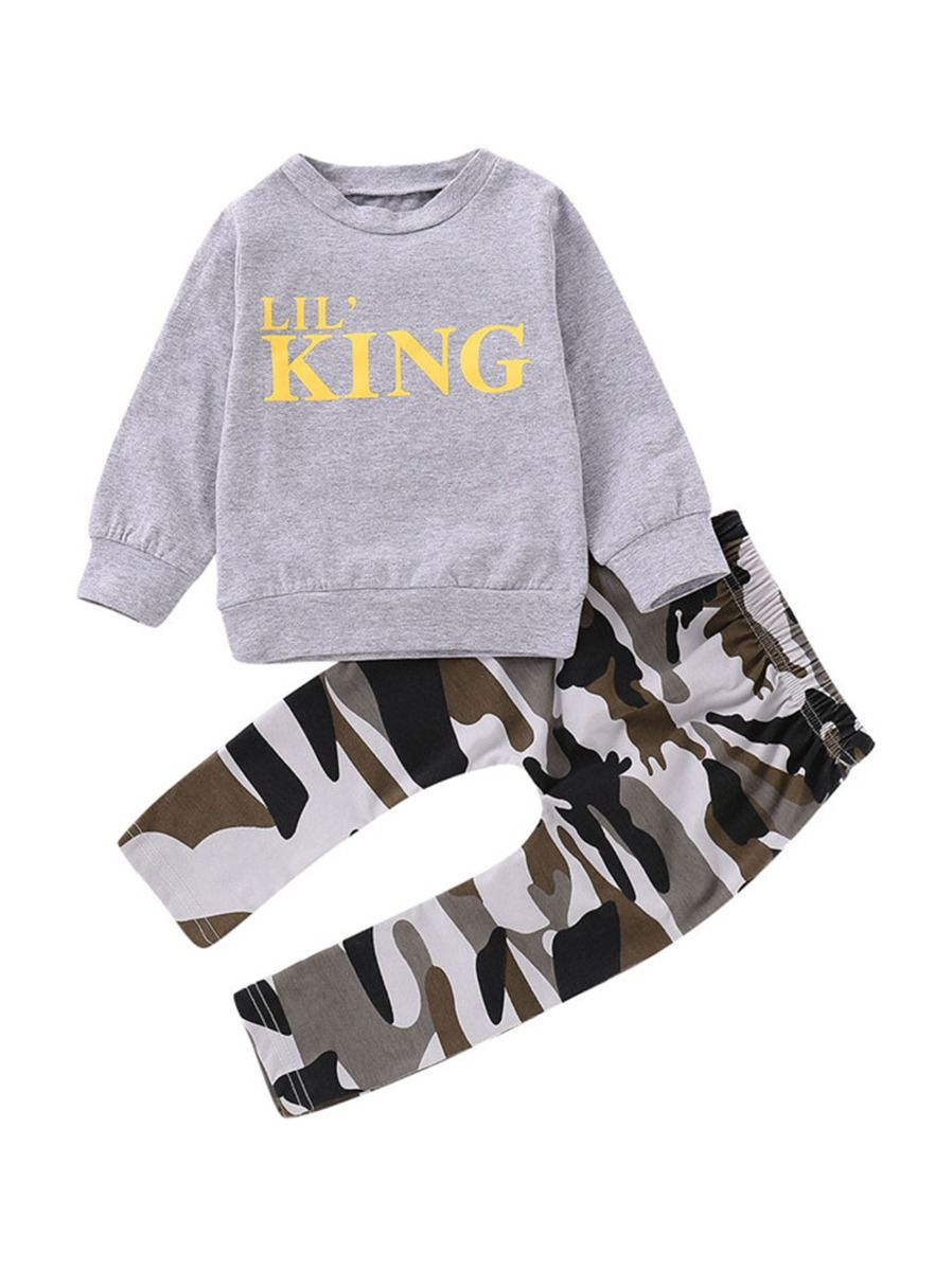ba2a9da53 2-Piece Spring Fall Outfit LIL'KING Pullover Matching Camo Pants ...