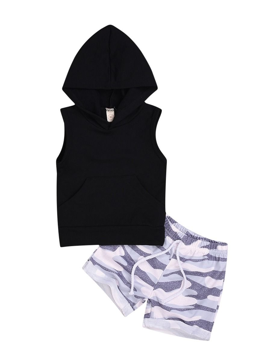 1a8eaa66e04 2-Piece Black Hooded Tank Top & Camo Pull-on Shorts Set ...