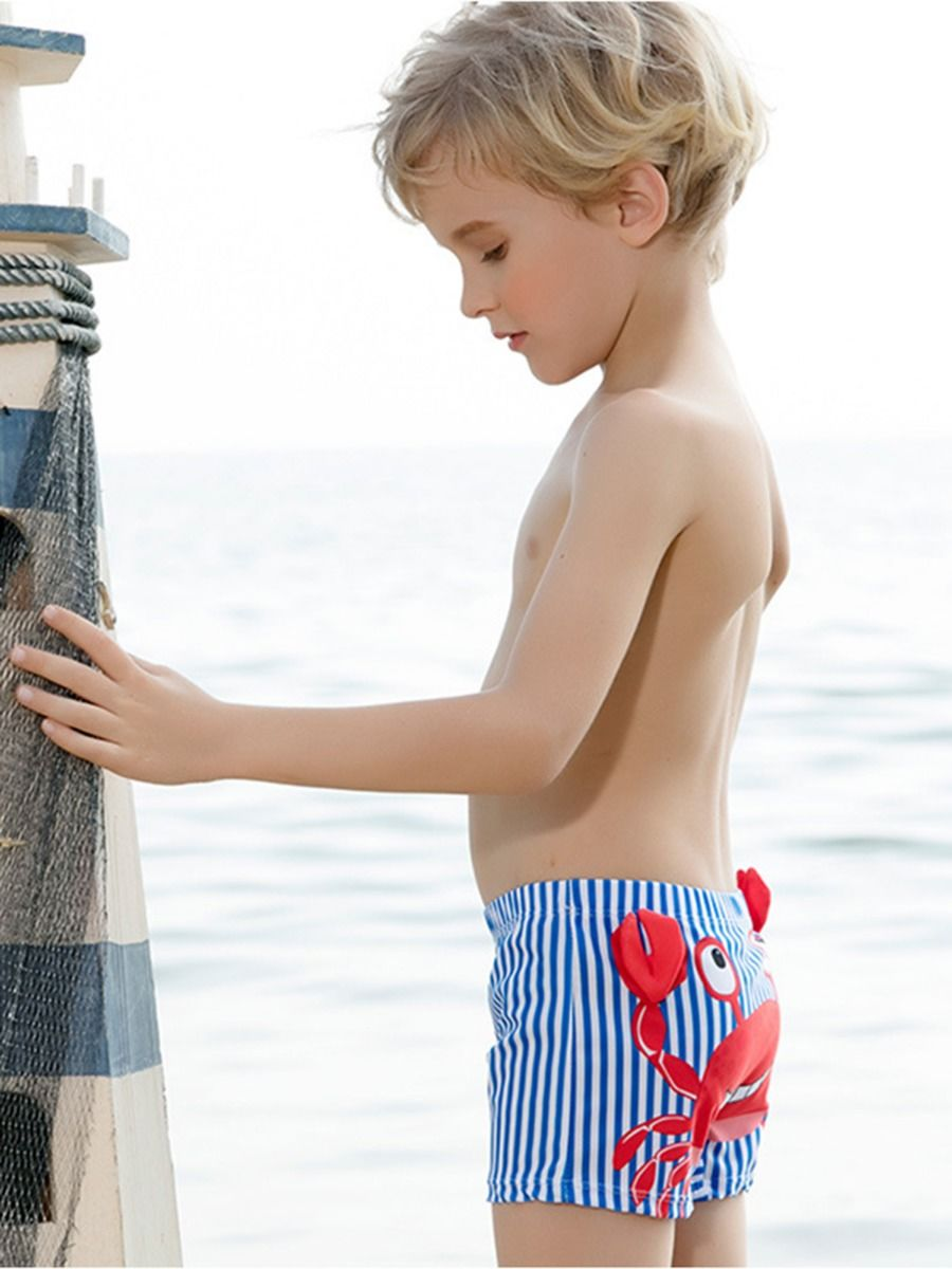 kiskissing wholesale crab stripe swimming trunks